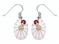 "Pink Enamel Sterling Silver Earrings with Orange CZ""s and Ladybug"