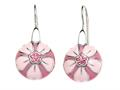 "Pink Enamel Sterling Silver Earrings with Pink CZ""s"