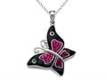 Black and Pink Enamel Sterling Silver Butterfly Pendant with Pink CZ`s
