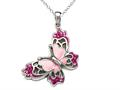 Pink Enamel Sterling Silver Butterfly Pendant with Pink CZ`s