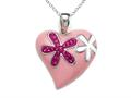 "Pink Enamel Sterling Silver Pendant with Pink CZ""s"