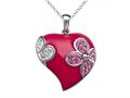 Pink Enamel Sterling Silver Pendant with White and Pink CZ`s