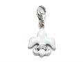 White Enamel Fleur De Lis Charm with White CZ`s for Charm Braclelet or Smartphone using our Smartphone Plug