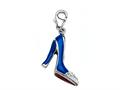 "Blue and Red Enamel High Heel Shoe Charm with White CZ""s for Charm Braclelet or Smartphone using our Smartphone Plug"