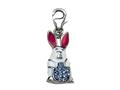 "White, Blue and Pink Enamel BunnyRabbit Charm with Blue CZ""s for Charm Braclelet or Smartphone using our Smartphone Plug"