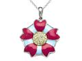Blue and Pink Enamel Sterling Silver Pendant with Yellow CZ`s