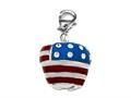 "Red, White, and Blue Enamel Apple Charm with White CZ""s for Charm Braclelet or Smartphone using our Smartphone Plug"