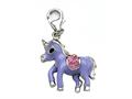 Purple and Pink Enamel Pony Charm with Pink CZ`s for Charm Braclelet or Smartphone using our Smartphone Plug