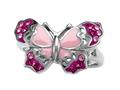 "Pink Enamel Sterling Silver Butterfly Ring with Pink CZ""s"