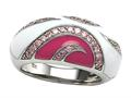 "Pink and White Enamel Sterling Silver Ring with Pink CZ""s"