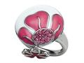 "Pink and White Enamel Sterling Silver Ring with Pink CZ""s and a Dangling Clover Charm"