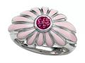 Pink Enamel  terling Silver Ring with Pink CZ`s