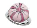 "Pink Enamel Sterling Silver Ring with Pink CZ""s"
