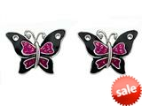 "Black and Pink Enamel Sterling Silver Butterfly Earrings with Pink CZ""s style: BEC0669"