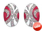 Pink and White Enamel Sterling Silver Earrings with Pink CZ`s