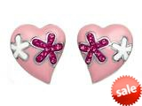 "Pink Enamel Sterling Silver Earrings with Pink CZ""s style: BEC0823"