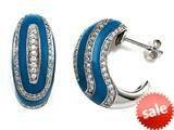 Blue Enamel Sterling Silver Earrings with White CZ`s