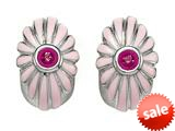 "Pink Enamel Sterling Silver Earrings with Pink CZ""s style: BEC1072-02RH"