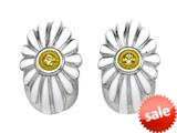 White Enamel Sterling Silver Earrings with Yellow CZ`s