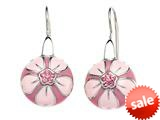 Pink Enamel Sterling Silver Earrings with Pink CZ`s style: BEC1080