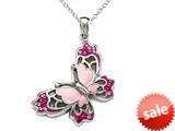 Pink Enamel Sterling Silver Butterfly Pendant with Pink CZ`s style: BPC1134