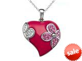 "Pink Enamel Sterling Silver Pendant with White and Pink CZ""s style: BPC1287"