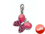 Pink Enamel Butterfly Charm with Pink CZ`s for Charm Braclelet or Smartphone using our Smartphone Plug Adaptor style: BPC1343