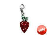 "Red and Green Enamel Strawberry Charm with Green CZ""s for Charm Braclelet or Smartphone using our Smartphone Plug style: BPC1345"