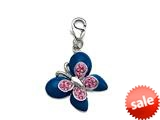 Blue and Pink Enamel Butterfly Charm with Pink CZ`s for Charm Braclelet or Smartphone using our Smartphone Plug Adaptor style: BPC1346