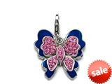 Blue and Pink Enamel Butterfly Charm with Pink CZ`s for Charm Braclelet or Smartphone using our Smartphone Plug Adaptor style: BPC1361