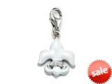 "White Enamel Fleur De Lis Charm with White CZ""s for Charm Braclelet or Smartphone using our Smartphone Plug style: BPC177101"
