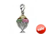 "Ice Cream Cup Enamel Charm with Pink, Green, and Yellow CZ""s for Charm Braclelet or Smartphone using our Smartphone Plug style: BPC1772"