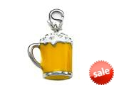 Yellow and White Enamel Beer Mug Charm with White CZ`s for Charm Braclelet or Smartphone using our Smartphone Plug style: BPC1856