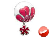 Pink and White Enamel Sterling Silver Pendant with Pink CZ`s and a Dangling Clover Charm