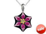 Black, Pink, and Yellow Enamel Sterling Silver Pendant with Pink CZ`s