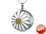 White Enamel Sterling Silver Pendant with Yellow CZ`s