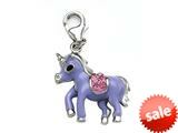 Purple and Pink Enamel Pony Charm with Pink CZ`s for Charm Braclelet or Smartphone using our Smartphone Plug style: BPC1914