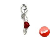 Red Enamel Heart on Wings Charm for Charm Braclelet or Smartphone using our Smartphone Plug style: BPP1706