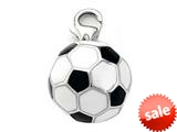 Black and White Enamel Soccer Ball Charm for Charm Bracelet or Smartphone using our Smartphone Plug style: BPP1877