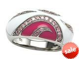 "Pink and White Enamel Sterling Silver Ring with Pink CZ""s style: BRC1550"