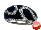 Blue Enamel Sterling Silver Ring with White CZ`s