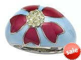 "Blue and Pink Enamel Sterling Silver Ring with Yellow CZ""s style: BRC1972"