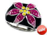 Black, Pink, and Yellow Enamel  Sterling Silver Ring with Pink CZ`s
