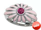 Pink Enamel  terling Silver Ring with Pink CZ`s style: BRC1975-02RH