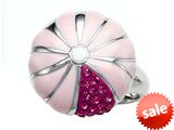 "Pink Enamel Sterling Silver Ring with Pink CZ""s style: BRC1981"