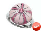 "Pink Enamel Sterling Silver Ring with Pink CZ""s style: BRC1985"