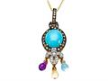 Carlo Viani Blue Turquoise Pendant with Brown Diamonds and Amethyst, Citrine and Blue Topaz Briolette Dangle