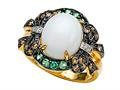 Carlo Viani White Agate Ring with Brown Diamonds and Tsavorite