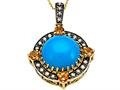 Carlo Viani Blue Turquoise Pendant with Brown Diamonds and Citrine