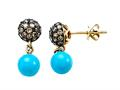 Carlo Viani 7mm Blue Turquoise Earrings with Brown Diamonds